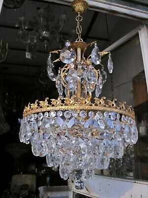 Antique Vnt French Big Bohemia Crystal Chandelier Lamp 1940's 18in Ø diamtr RARE
