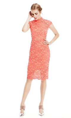 NWT LELA ROSE corded lace cap sleeve sheath midi dress in coral pink 10