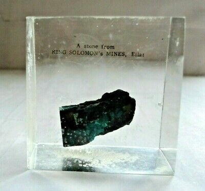 Actual Eilat Stone From King Solomon's Mine Israel Encased In Lucite