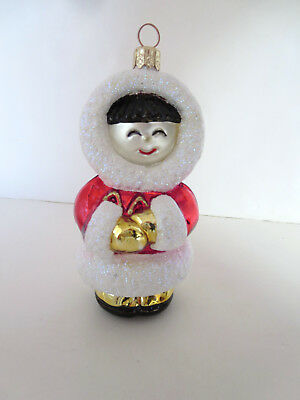 "Boxed Hand Blown Glass ""eskimo"" Christmas Ornament 5"" Made In Poland"