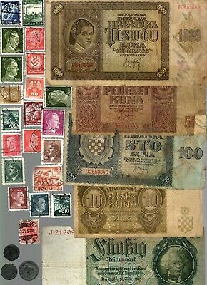 Nazi Germany And Occupied Europe Banknote, Coin And Stamp Set #  60