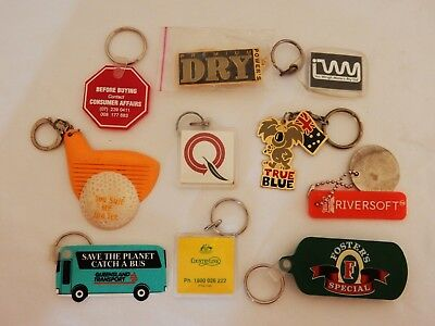 Bulk Job Lot of 10 Vintage Retro Key Rings Chains Keyrings Keychains
