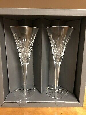Pair (2) Waterford Crystal Lismore Champagne Toasting Flutes