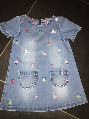 Next Baby Girls Denim Dress With Animals - Age: 12-18 Months - Hardly Worn