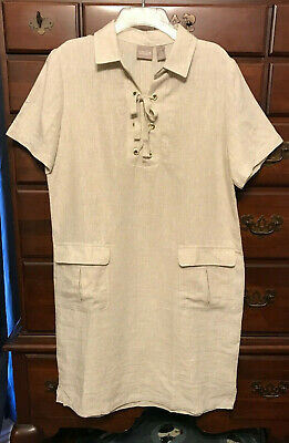 cfac3f9763 Chico s Natural Dora Lace Up Linen Shirt Dress Size 1 (8 10) NWT