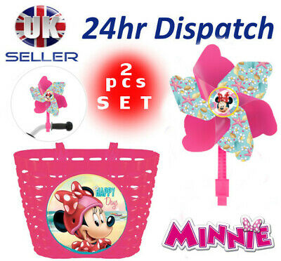 Disney MINNIE MOUSE Girls Bike Cycle Shopping Front BASKET + Windmill Pinwheel