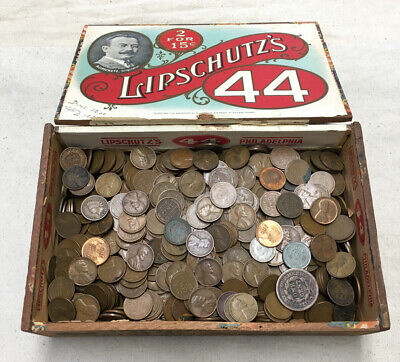 7+ Lbs. Old Wood Box Lot Wheat Pennies 1909-1958 & Indian Cents Mix