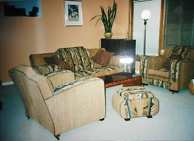 Art Deco Club 3 seater lounge & 2 chairs & ottoman, rebuilt, reupholstered