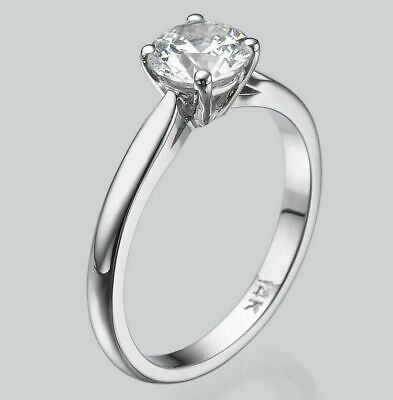 Solitaire 14K White Gold Round Diamond Engagement Ring Enhanced 2/3 CT D/VS2