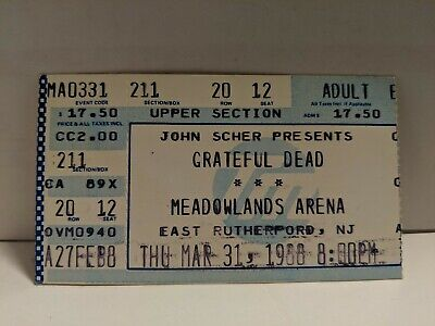 The Grateful Dead Meadowlands Arena Thursday March 31st 1988, NJ Ticket Stub