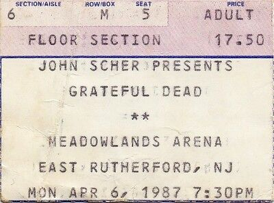 Grateful Dead Ticket Stub  04-06-1987  Meadowlands Arena