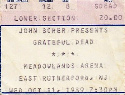 Grateful Dead Ticket Stub  10-11-1989  Meadowlands Arena