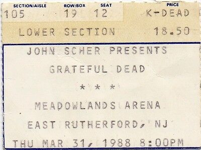 Grateful Dead Ticket Stub  03-31-1988  Meadowlands Arena