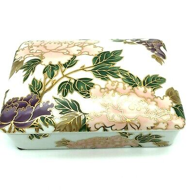 Fitz and Floyd Fine Porcelain Cloisonne Peony Design Trinket Playing Card Box