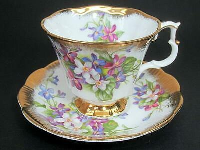 Royal Albert Tea Teacup Cup & Saucer c1960's Violet Floral Heavy Gold