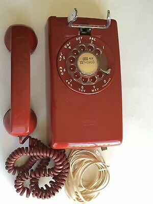 Vintage  1966  Red  Western Electric  554   Bell System  Rotary  Wall Telephone