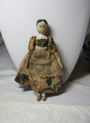Grodnertal Doll Rare Tiny Antique Early Wooden Original Lace Costume c1840
