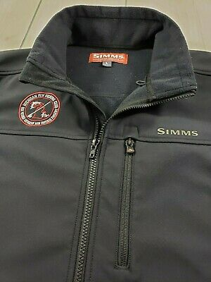 SIMMS Rogue Fleece Softshell Vest Fly Fishing Club Patch Black Men's Large  F77