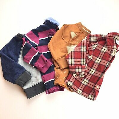 Baby Boy 4 Piece Long Sleeve Shirt Lot Size 12-18 Months Button Down Collared