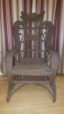 W.E. Ryan Wicker Rocking Chair, Antique Wicker Rocking Chair, Victorian Rocker