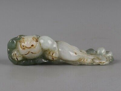 Chinese Exquisite Hand carved beast Carving jadeite jade Pendant