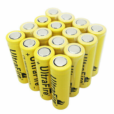 16X 18650 Li-ion Battery 9800mAh 3.7V Rechargeable Flat Top for Flashlight Torch