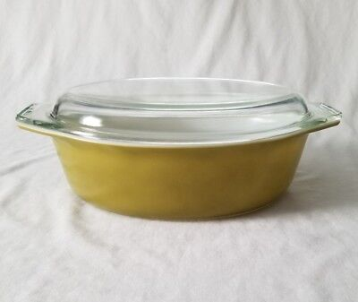 Vintage Pyrex Verde Casserole Dish 2.5 Quart #045 Oval Avocado Green With Lid
