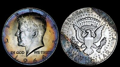 1964-D 50C Kennedy Silver Half Dollar BU UNC Rainbow Colorful Toned USA Type