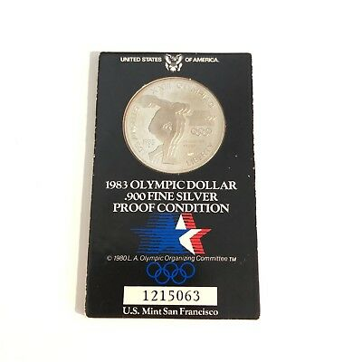 1983 Olympic dollar .900 fine silver proof condition