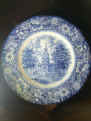 "Staffordshire Liberty Blue Historic Colonial Scene Independence Hall 10"" Plate"