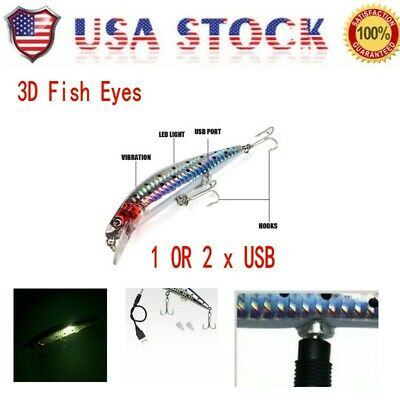 USB Fishing Lures LED Electric Vibrate Charging Fish Lure Bait Hook*Rechargeable