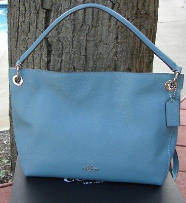 4d3d20d14f Coach CLARKSON HOBO Handbag MARINE SILVER Pebbled LEATHER 24947 SOLD OUT!