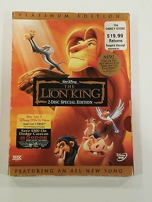 The Lion King DVD, 2003, 2-Disc Set, Platinum Edition NEW w/slipcover