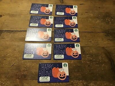 9 New Starbucks 2018 Happy Halloween Gift Cards Lot Limited