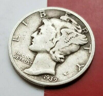 1939 D Mercury Dime 90% Silver  OLD AMERICAN COIN **FREE SHIPPING**