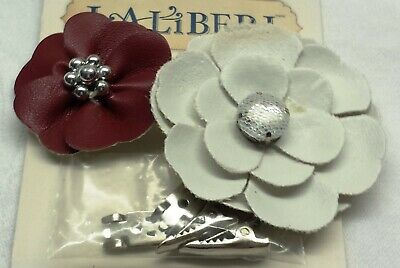 Hair clip kit, red / white, 40x40mm and 56x56mm flower