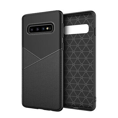 For Samsung Galaxy S10+ S10 Plus Black Leather TPU Armor Shock Proof Case Cover