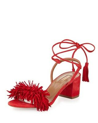 cf805c9ca2b AQUAZZURA WILD THING Red Suede Leather Strappy Sandals Heels ...