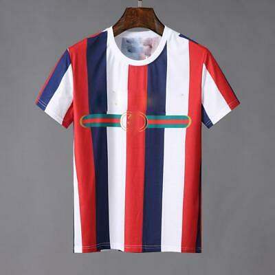 12eb68030ad0 Men s White Red And Blue Color Stripe Design Round Neck Comfortable T-shirt