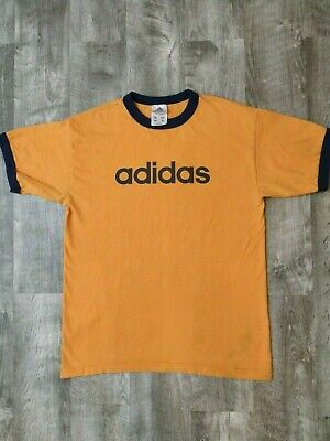 a456abe1140 Vintage Adidas Spellout Orange Ringer T-Shirt Made in USA Size Small S