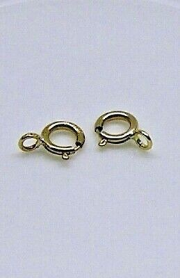 Clasp, springring, 14Kt gold-filled, 5mm with open loop x 2