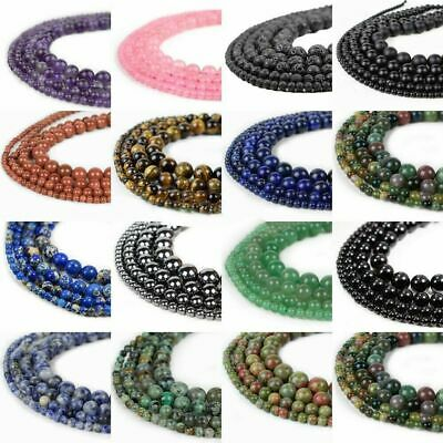Natural Assorted Mixed Gem Round Loose Strand Stone Beads Size 4 6 8 10 12 14mm