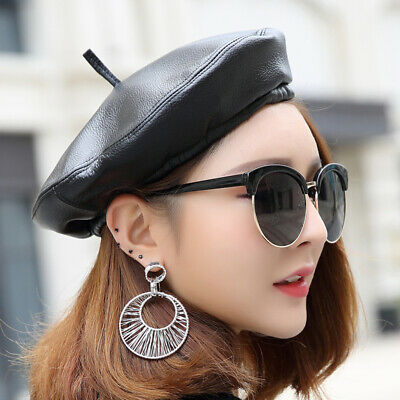 e28500d76a00a2 2019 Women's Fashion Sheepskin Genuine Leather Black Beret Cap Casual  Artist Hat