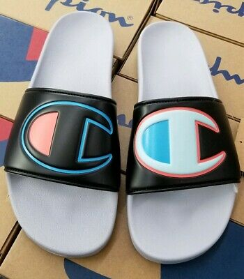 ff55dad7235 Champion Men s Slide Sandals Ipo Color Block Black Multi  silver Stone  Cm100326M