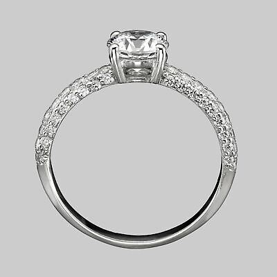 1 CT Solitaire Round Cut Diamond Engagement Ring D/SI 14K White Gold Enhanced