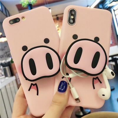 For iPhone XR 7 8 Plus Xs Max 3D Pig Pattern Stand Case Cover With Pop Up Holder