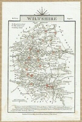 Original 1812 Wiltshire Miniature antique county map by John Cary.