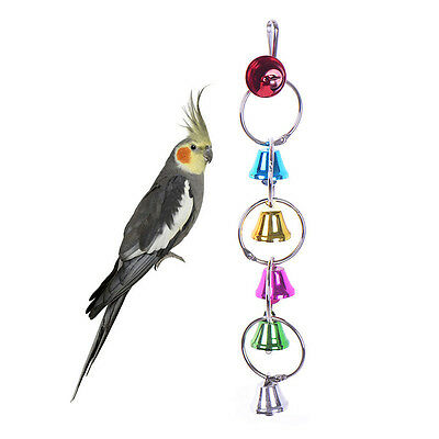 Colorful Metal Bells Ringer Bird Toy Parrot Cockatiel Harness Hanging Cag pols