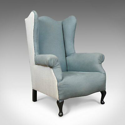 Antique Wing Back Chair, English, Edwardian, Armchair, Mahogany, Circa 1910