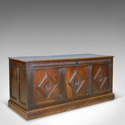 Antique Coffer, English, Oak, Joined Chest, Three Panel Trunk, c.1700 and Later